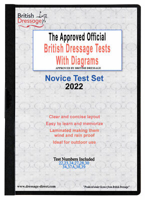 2018 NOVICE TEST SET Laminated British Dressage Tests & Diagrams