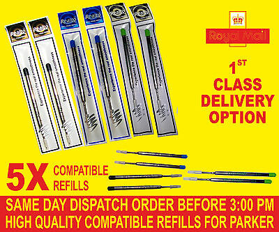 Quality 5 X Compatible  Parker   Refills For Ballpoint Medium Black/blue