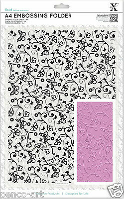 Xcut Xpress A4 embossing folder Butterfly Pattern Use A4or wider cutting machine