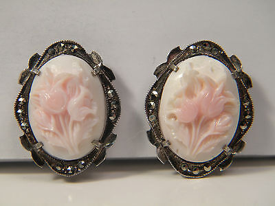 Stunning .800 Silver Marcasite Pink Conch Tulip Flower Carved Cameo Earrings
