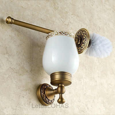 Wall Mounted Luxury Antique Brass Toilet Brush Holder Set With Ceramic Cup 15048