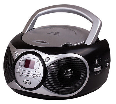 Trevi Portable Stereo Boombox with CD  FM Radio & AUX-IN for MP3 Black