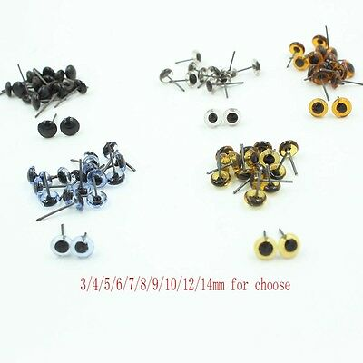 100pcs 3/4/5/6/7/8/9/10/12/14mm Glass Eyes On Wire Toy Teddy Eyes Puppets Doll