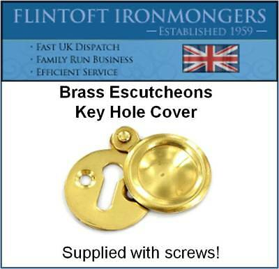 Polished Brass Escutcheon Key Hole Cover - With Screws!