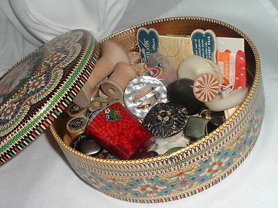 Vintage Holland Sewing Kit Box Bakelite Buttons, Thread, Buckles Beautiful