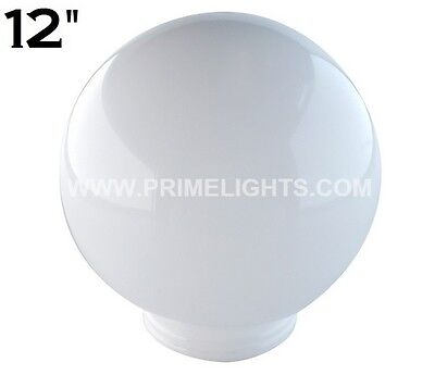 "12"" White Round Globe Outdoor Spheres Lamp Post Top Light Pole Acrylic New Post"