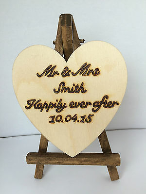 Personalised Wooden Mini Easel Heart Stand Wedding Table Number/Decoration Sign