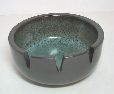 Heath Ceramic Pottery Ashtray Brown Turquoise Blue Speckled Signed Mid Century