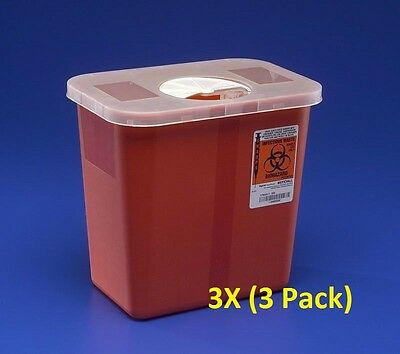Sharps Disposable Biohazard Container, 2 Gallon, Red, 8970 - 3PACK