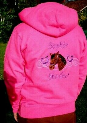 Personalised Embroidered Riding/Equestrian Horsehead Hoody, Change the Colours