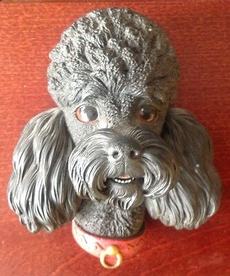 Vintage 1968 Black French Poodle Bossons Chalkware Head  Character Wall Hanging