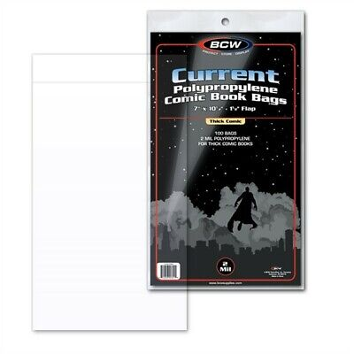 200 BCW THICK Current / Modern Comic Book Poly Bags + Acid Free Backer Boards