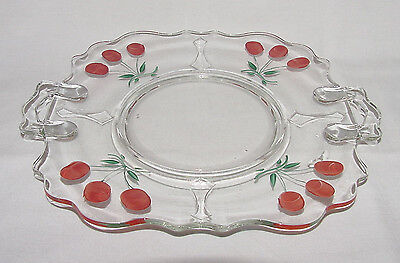 """PERFECT Vintage One-of-a-Kind """"MOUNT PLEASANT"""" Cake Plate with Cherries!!"""