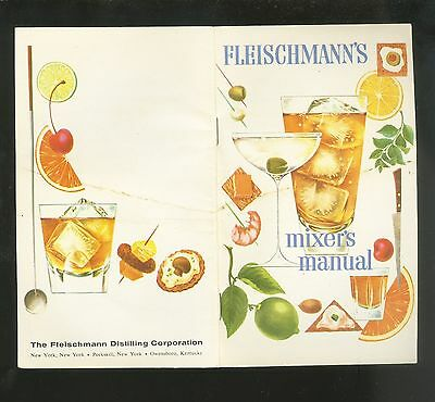 Pretty 1950s Mixology Fleishmann's Gin Cocktail Recipe Booklet