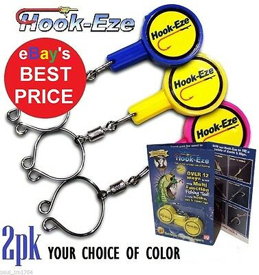 HOOK-EZE 2 pack Fishing Line Safety Tying Device+ Line Cutter- Hookeze 1 to 4pks