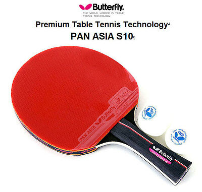 Butterfly Pan Asia S10 Table Tennis Racket Shakehand Ping Pong Racket & Ball