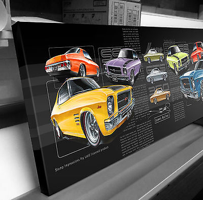 Holden Hq Ss Gts Monaro Stretched Canvas Compilation  Stomp Impressions Art