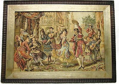 Antique Art Old Tapestry Painting Framed Wall Hanging French Vintage Gobelin
