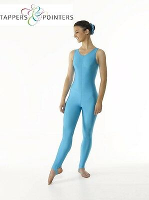 Sleeveless Plain Front Nylon Lycra Stirrup Leggings Catsuit For Dance/Modern