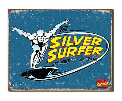 Marvel Comics A3 Retro Tin Metal Sign SILVER SURFER 41x32cm Rustic look Licensed