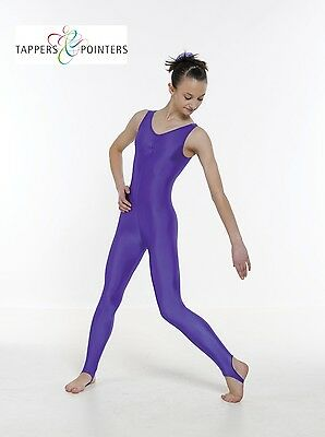 Sleeveless Ruched Front Nylon Lycra Stirrup Leggings Catsuit For Dance/Modern