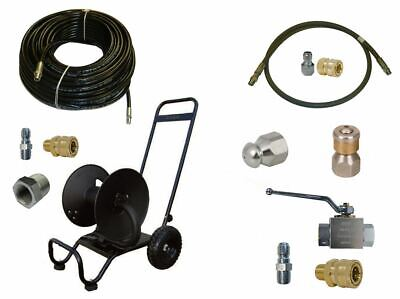 "Sewer Jetter Cleaner Kit - Ball Valve, 200' x 1/4"" Hose, Reel and Nozzles"