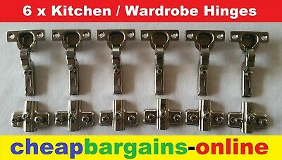 6 x NEW KITCHEN WARDROBE HINGES CUPBOARD DOOR CABINET HINGES CONCEALED HINGES