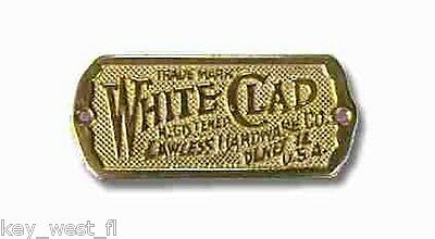 Solid Brass Ice Box Name Plate  Replacement { WHITE CLAD } by PLD