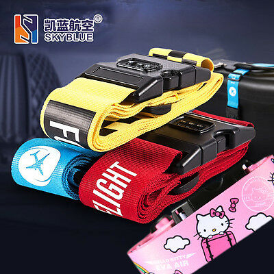 Packing Belt Luggage Strap with Password Buckle for Pilot Flight Crew blue/ pink