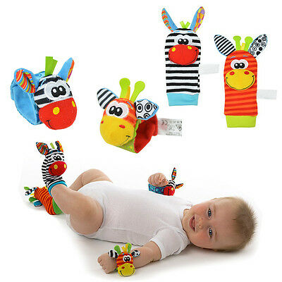 Infant Baby Cute Animal Wrist Foot Sock Rattles Soft Developmental Toys Finders