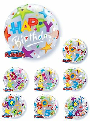 """22"""" QUALATEX BUBBLES See Through Round Helium BIRTHDAY Party Age BALLOON"""