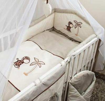 5 PIECE PCS NURSERY COT BEDDING SET PADDED SAFETY BUMPER 120 or 140 cm GIRAFFE