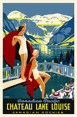 Art Deco Vintage Canadian Travel Poster Chateau Lake Louise 1930s Retro Print