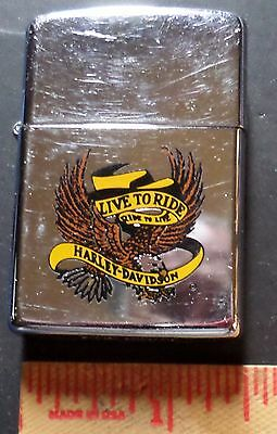 """Vintage 1990 Harley Zippo lighter collectible old HD """"Live to Ride"""" motorcycle"""