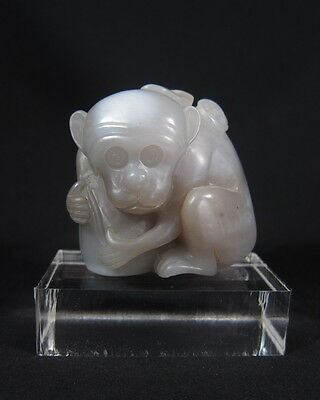 Rare Chinese scholar grey jade water pebble carved as a monkey