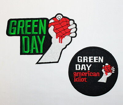 Lot of 2 GREEN DAY AMERICAN IDIOT HEAVY METAL HARDCORE PUNK ROCK IRON ON PATCH