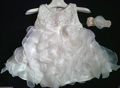 Ivory Christening Wedding Flower Girl Pageant Prom Bridesmaid Party Dress 0-24m