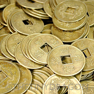 """20 LARGE FENG SHUI COINS 1.25"""" 3.2cm Brass Chinese Fortune Coin Lucky I Ching"""