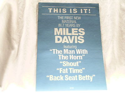 MILES DAVIS Man With a Horn 8 x 11 promo only unused sticker