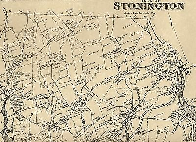 Stonington Pawcatuck CT 1868 Map with Homeowners Names Shown