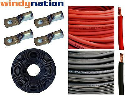 4 AWG GAUGE Red + Black Welding Battery Cable + Cable Lugs + Heat Shrink Tubing