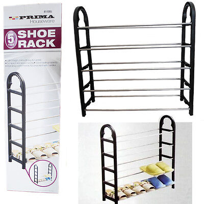LARGE 5 Tier Shoe Rack Stand Shelf Light Space Storage Organizer Sturdy Compact