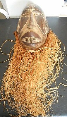 "AFRICAN MASK Igbo Tribe, Southeastern Nigeria 27"" Long w/Beard 8"" Wide 13"" Long"