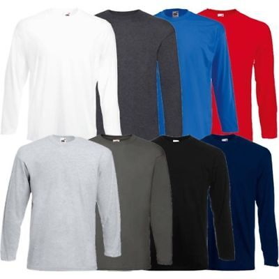 Men's Fruit of the Loom Long Sleeve T Shirt Plain Tee Shirt Top Cotton