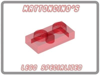LEGO 2x 3023 Trans-Red Plate 1 x 2 NEW