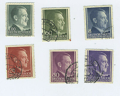 WWII Occupied Poland - Lot of 6 Stamps with Hitler's Head - all different