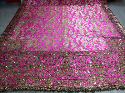 RARE Antique Gold  Metallic Anglo Indian  Embroidery Silk Mughal Cover Gold Trim
