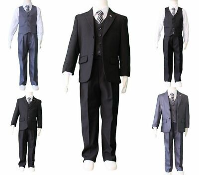 Boys Kids Baby Black Grey Formal Suit 5pcs Wedding Christening Suit Size 00-17