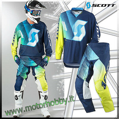 Completo Motocross Scott 350 Dirt Blue Taglia Xl - 36