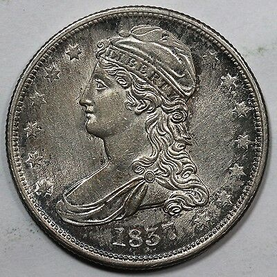 1837 Reeded Edge Capped Bust Silver Half Dollar 50c